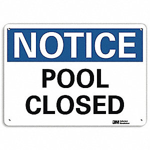 "Pool Hazard, Notice, Aluminum, 10"" x 14"", With Mounting Holes, Engineer"