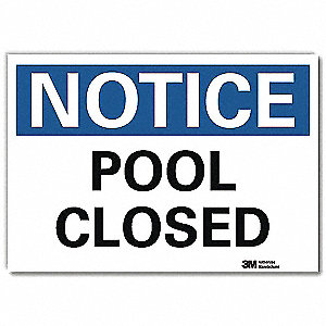 "Pool Hazard, Notice, Vinyl, 10"" x 14"", Adhesive Surface, Engineer"
