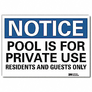 "Pool Hazard, Notice, Vinyl, 5"" x 7"", Adhesive Surface, Engineer"