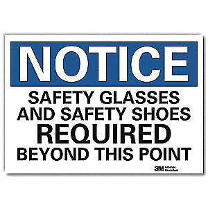 "Personal Protection, Notice, Vinyl, 10"" x 14"", Adhesive Surface, Engineer"