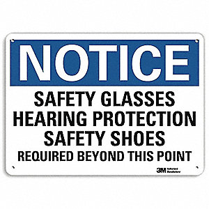 "Personal Protection, Notice, Aluminum, 10"" x 14"", With Mounting Holes, Engineer"