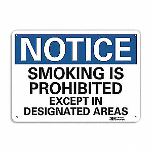 "No Smoking, Notice, Aluminum, 10"" x 14"", With Mounting Holes, Engineer"