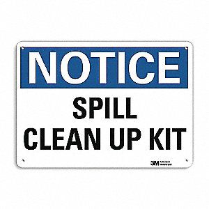 "Spill Control, Notice, Aluminum, 10"" x 14"", With Mounting Holes, Engineer"