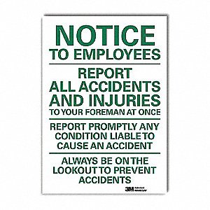 "Accident Prevention, Notice, Vinyl, 10"" x 7"", Adhesive Surface, Engineer"