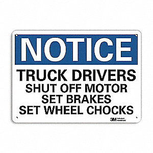 "Chock Wheels, Notice, Aluminum, 7"" x 10"", With Mounting Holes, Engineer"
