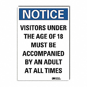 "Employees and Visitors, Notice, Vinyl, 14"" x 10"", Adhesive Surface, Engineer"