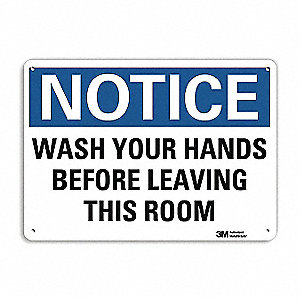 "Wash Hands, Notice, Aluminum, 7"" x 10"", With Mounting Holes, Engineer"