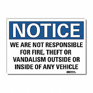 "Facility, Notice, Vinyl, 10"" x 14"", Adhesive Surface, Engineer"