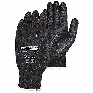 Nitrile Cut Resistant Gloves, ANSI/ISEA Cut Level 2 Lining, Black, 7, PR 1