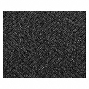 "Indoor Entrance Runner, 12 ft. L, 4 ft. W, 3/8"" Thick, Rectangle, Charcoal"
