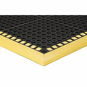 "Drainage Mat, Black with Yellow Border, 5 ft. 4"" x 3 ft. 4"", Heavy-Duty Rubber, 1 EA"