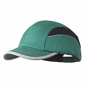Green Inner ABS Polymer, Outer Polycotton Bump Cap, Style: All Season Baseball, Fits Hat Size: 7 to