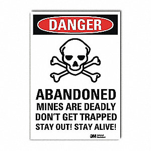 "Safety Incentive and Motivational, Danger, Vinyl, 10"" x 7"", Adhesive Surface, Engineer"