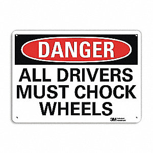"Chock Wheels, Danger, Aluminum, 10"" x 14"", With Mounting Holes, Engineer"