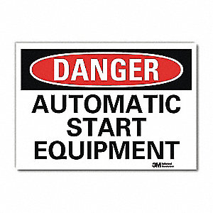 "Machine and Operational, Danger, Vinyl, 5"" x 7"", Adhesive Surface, Engineer"