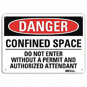"Confined Space, Danger, Aluminum, 10"" x 14"", With Mounting Holes, Engineer"