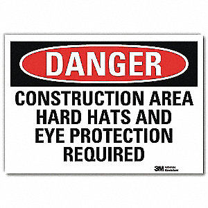 "Personal Protection, Danger, Vinyl, 7"" x 10"", Adhesive Surface, Engineer"