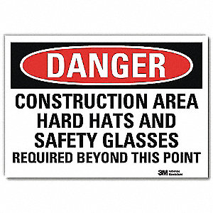 "Personal Protection, Danger, Vinyl, 10"" x 14"", Adhesive Surface, Engineer"