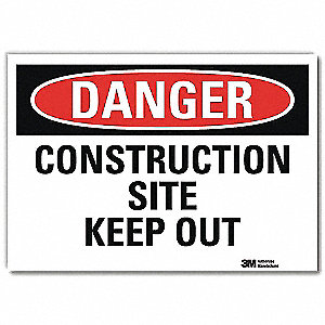"Construction, Danger, Vinyl, 10"" x 14"", Adhesive Surface, Engineer"