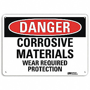 "Personal Protection, Danger, Recycled Aluminum, 10"" x 14"", With Mounting Holes, Engineer"