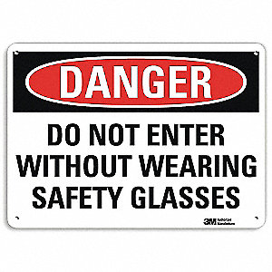 "Personal Protection, Danger, Recycled Aluminum, 7"" x 10"", With Mounting Holes, Engineer"