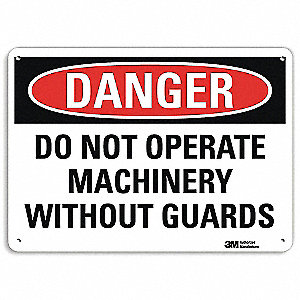 "Machine Guarding, Danger, Recycled Aluminum, 7"" x 10"", With Mounting Holes, Engineer"