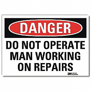 "Person Working, Danger, Vinyl, 5"" x 7"", Adhesive Surface, Engineer"