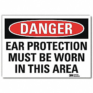 "Personal Protection, Danger, Vinyl, 5"" x 7"", Adhesive Surface, Engineer"