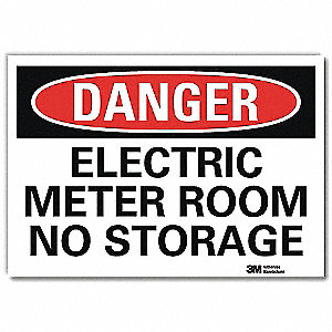 "Electrical Hazard, Danger, Vinyl, 5"" x 7"", Adhesive Surface, Engineer"