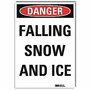 "Icy Conditions, Danger, Vinyl, 7"" x 5"", Adhesive Surface, Engineer"