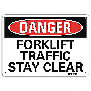"Lift Truck Traffic, Danger, Recycled Aluminum, 10"" x 14"", With Mounting Holes, Engineer"
