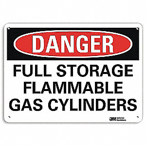 "Chemical, Gas or Hazardous Materials, Danger, Aluminum, 10"" x 14"", With Mounting Holes, Engineer"