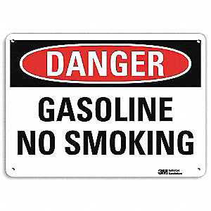 Danger No Smoking Sign,Gasoline,7x10