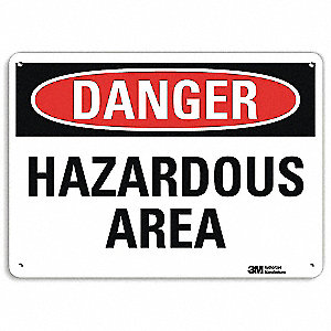 "Chemical, Gas or Hazardous Materials, Danger, Recycled Aluminum, 10"" x 14"", With Mounting Holes"