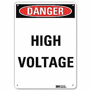 Danger Sign,4 Hole Mount,7in W x 10in H