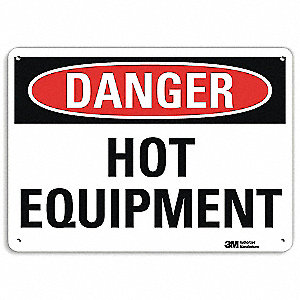 "Hot, Danger, Aluminum, 7"" x 10"", With Mounting Holes, Engineer"