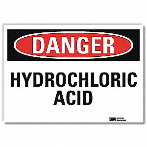 "Chemical, Gas or Hazardous Materials, Danger, Vinyl, 7"" x 10"", Adhesive Surface, Engineer"
