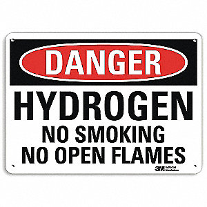 Danger No Smoking Sign,Hydrogen,7x10