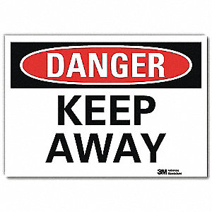 "Keep Clear, Danger, Vinyl, 5"" x 7"", Adhesive Surface, Engineer"