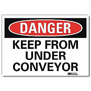 "Conveyors, Danger, Vinyl, 7"" x 10"", Adhesive Surface, Engineer"
