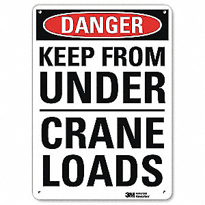 "Crane and Hoists, Danger, Aluminum, 14"" x 10"", With Mounting Holes, Engineer"
