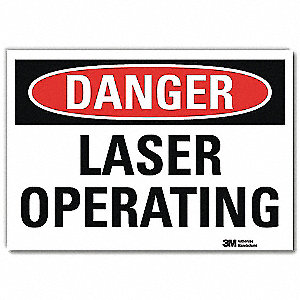 "Laser Hazard, Danger, Vinyl, 5"" x 7"", Adhesive Surface, Engineer"