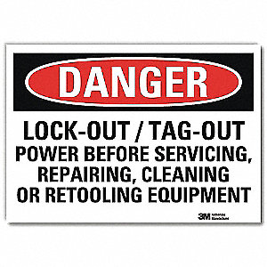 "Lockout Tagout, Danger, Vinyl, 7"" x 10"", Adhesive Surface, Engineer"