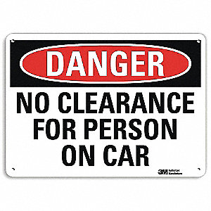 "Overhead Clearance, Danger, Recycled Aluminum, 7"" x 10"", With Mounting Holes, Engineer"