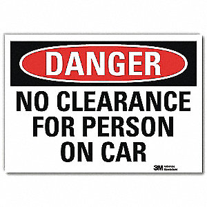 "Overhead Clearance, Danger, Vinyl, 5"" x 7"", Adhesive Surface, Engineer"
