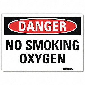 Danger No Smoking Sign,Oxygen,10x14