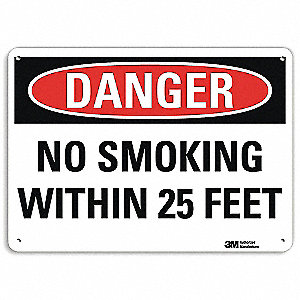"No Smoking, Danger, Recycled Aluminum, 10"" x 14"", With Mounting Holes, Engineer"