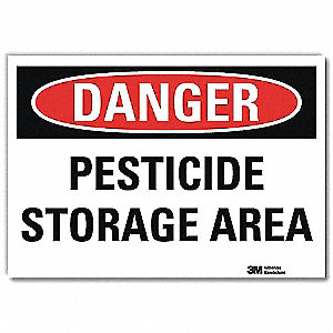 "Pesticide, Danger, Vinyl, 10"" x 14"", Adhesive Surface, Engineer"