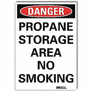 Danger No Smoking Sign,Propane,7x5