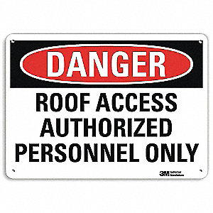 Danger Sign,4 Hole Mount,10in W x 7in H